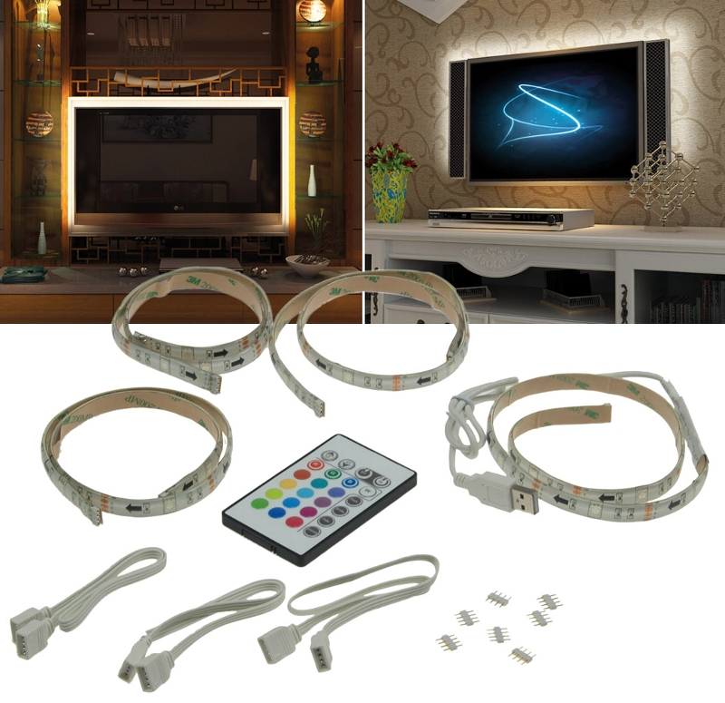 tv hintergrundbeleuchtung led leisten led strip usb 42 65 107 165cm multicolor ebay. Black Bedroom Furniture Sets. Home Design Ideas